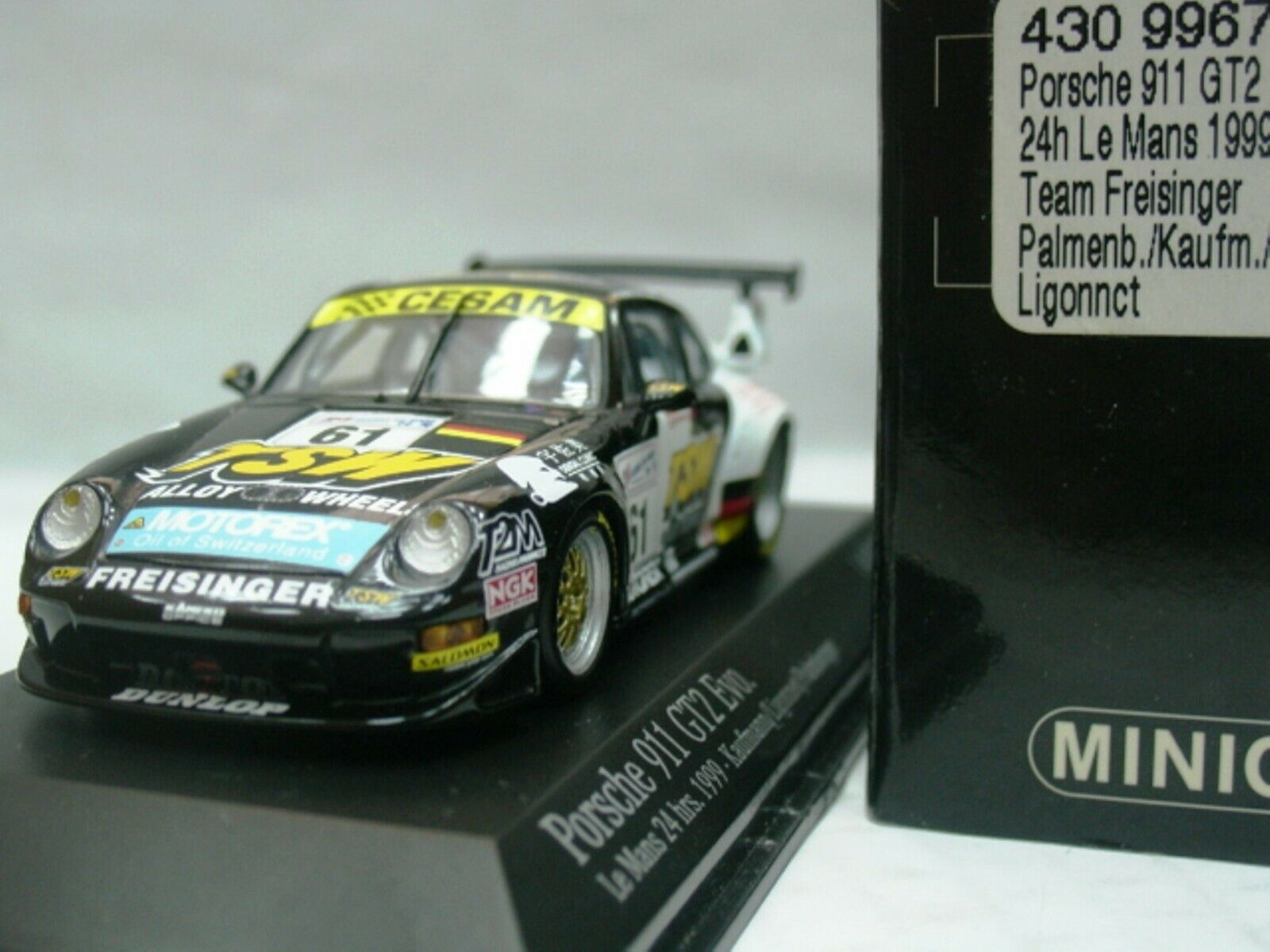 WOW EXTREMELY RARE Porsche 993 911 GT2 Evo2 LeMans 1999 1 43 Minichamps-RS
