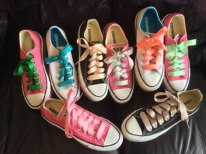 1625906b5473 SATIN RIBBON SHOE LACES. NEW COLOURS trainer low hi or other type ...