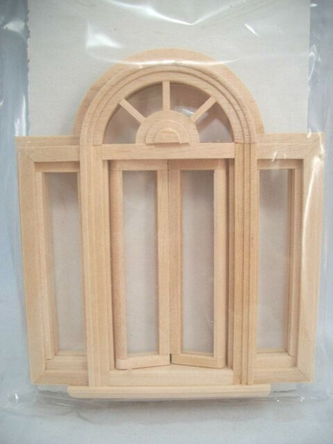 Window Circlehead Double Casement  Half Scale 1:24 Dollhouse wooden #H5049