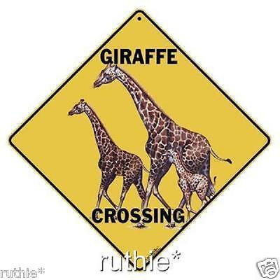 "Giraffe Metal Crossing Sign 16 1/2"" x 16 1/2"" Diamond shape made in USA #255"