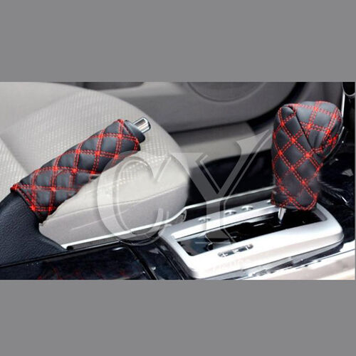 Universal PU Leather Auto Car Parking/ Hand Brake Cover+ Gear Shift Stick Cover
