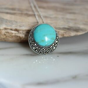 Sterling Silver 925 Marcasite & Recon Turquoise Vintage Inspired 42cm Necklace