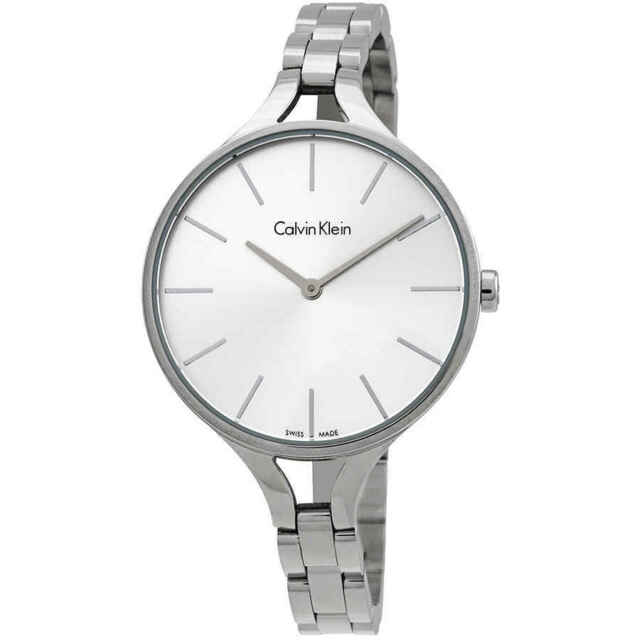 Calvin Klein Graphic Silver Dial Bangle Ladies Watch K7E23146
