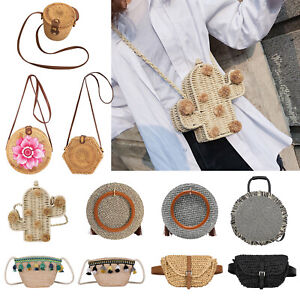 Round Straw Shoulder Bags Handbag Tote Women/'s Cross-body Hand-Woven Beach Purse