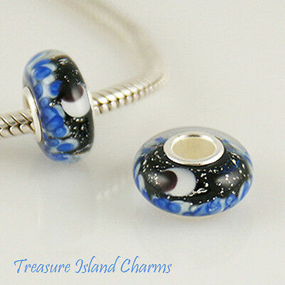 MOON STARS AND SEA FOIL MURANO GLASS .925 Sterling Silver EUROPEAN Bead Charm