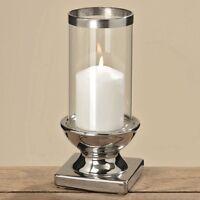 kerzenhalter windlicht metall silber mit glasaufsatz ebay. Black Bedroom Furniture Sets. Home Design Ideas