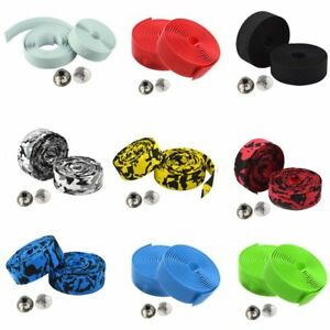 Cycling-Road-Bike-Sports-Bicycle-Cork-Handlebar-Wrap-Tape-Belt-2-Bar-Plugs-USA