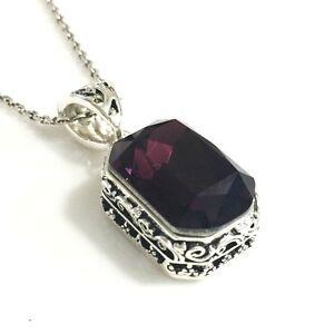 Vintage-Purple-Amethyst-Pendant-Necklace-18-034-Chain-14k-White-Gold-Women-Jewelry
