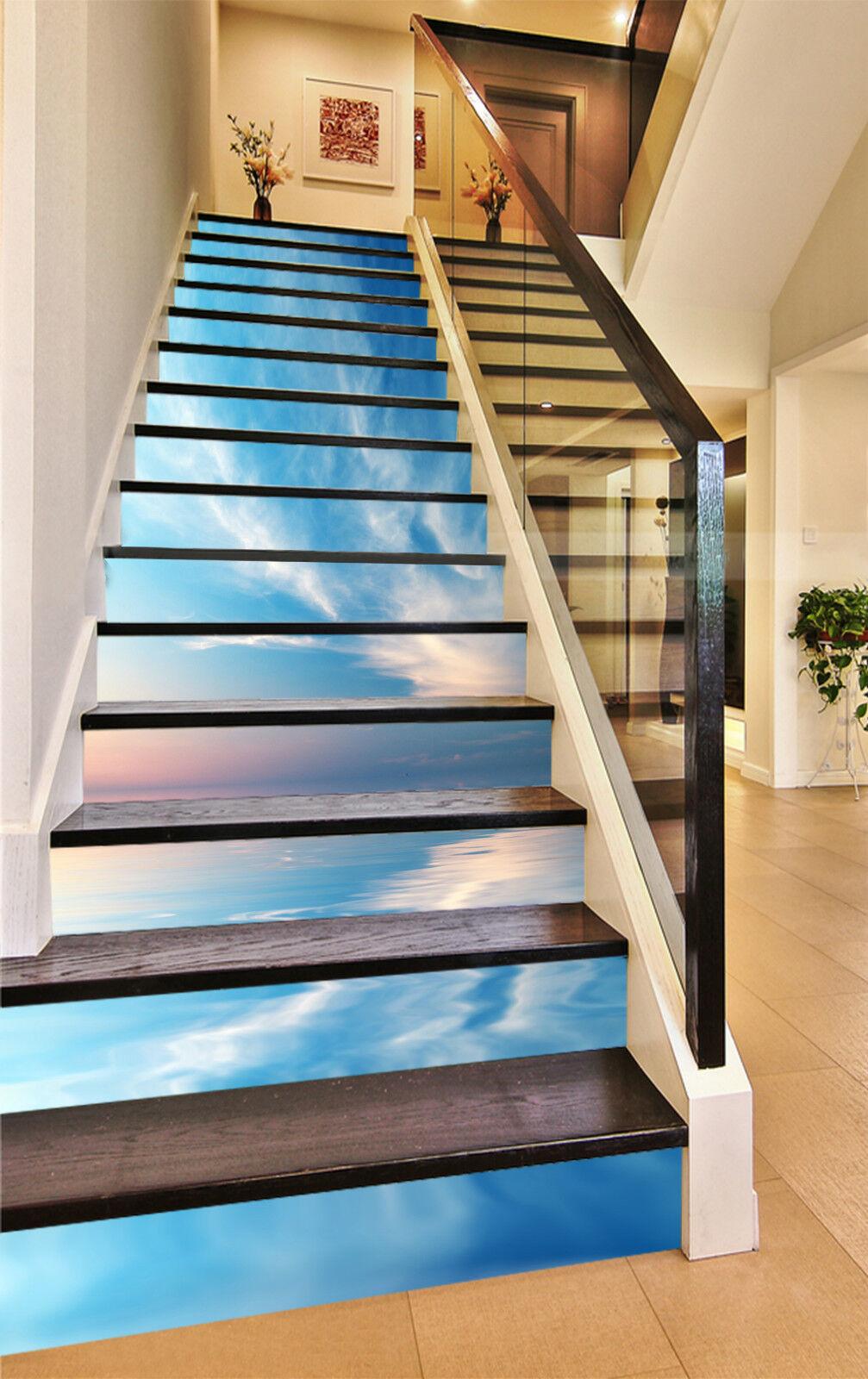 3D Blauer Meer 321 Stair Risers Dekoration Fototapete Vinyl Aufkleber Tapete DE