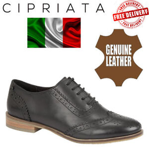 Cipriata-Womens-Leather-Oxford-Brogues-Ladies-Formal-Dress-Shoes-Boots-Black-UK