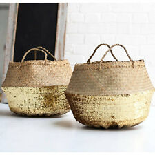 Large Seagrass Belly Basket Gold Sequin Straw Beach Bag Panier Boule Storage box