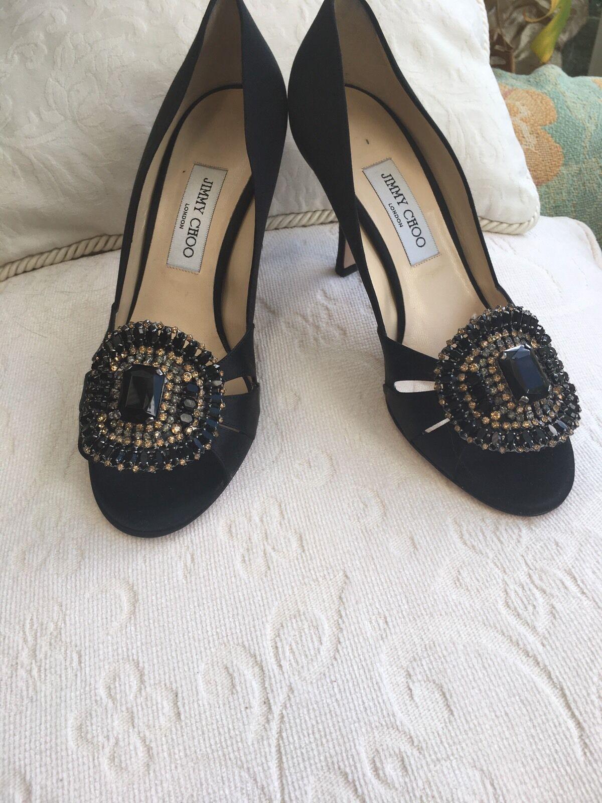 JIMMY CHOO Noir Noir Noir Satin Bout Ouvert Bijou Embelli Chaussures Taille 7 E40 99dcf2