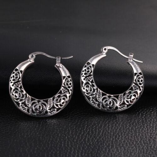 métal argent neuves créoles motif rose Boucles d/'oreilles rétro antique