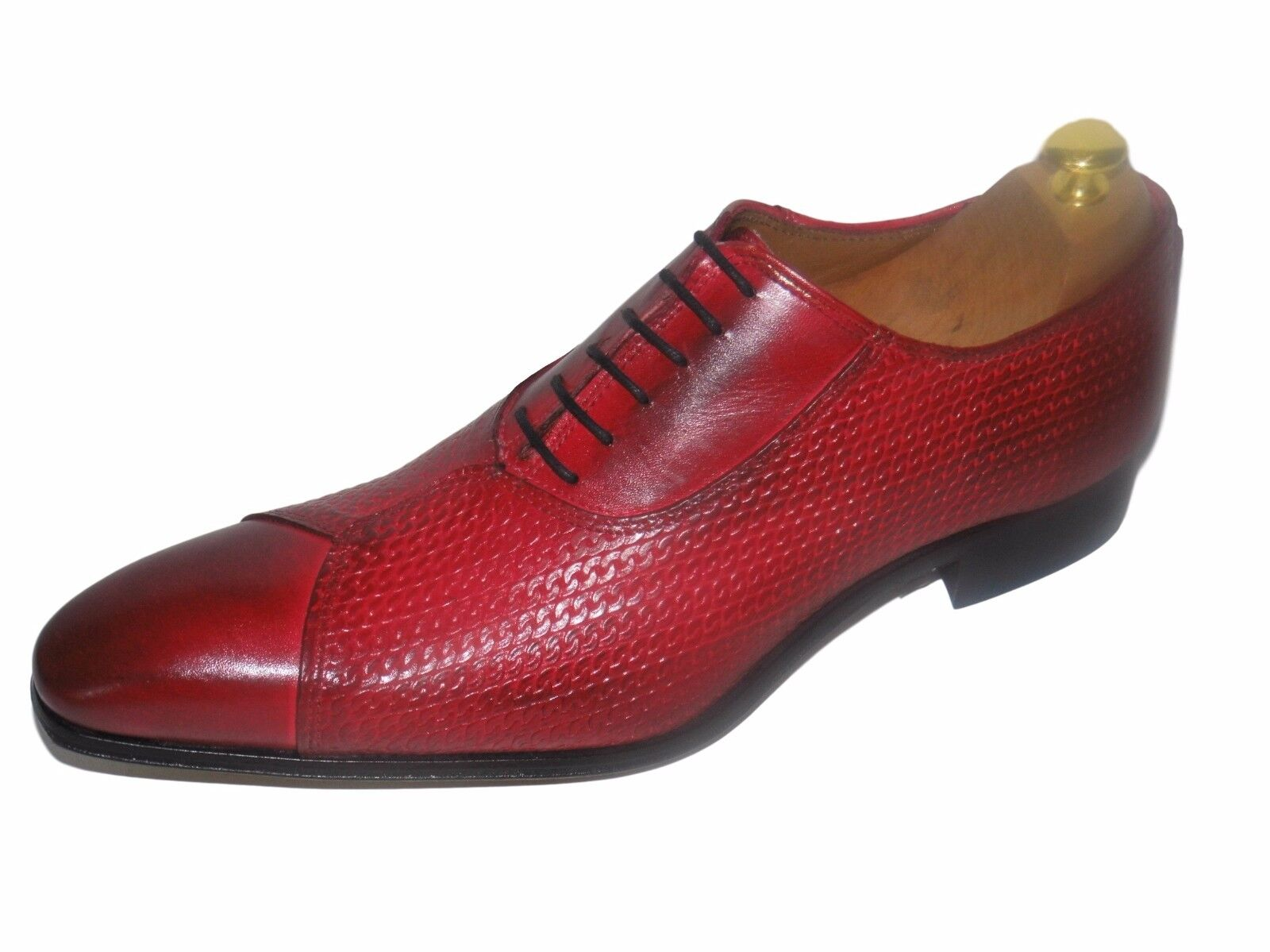CHAUSSURE GRANULÉ ITALIENNE LUXE HOMME NEUF CUIR GRANULÉ CHAUSSURE ROUGE COUSU MAIN abefd8