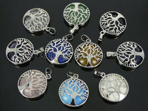 Natural Gemstones Tree Of Life Healing Reiki Chakra Pendant Silver Charm Beads