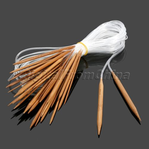 18Pairs 2-10mm Double Pointed Knitting Needles Carbonized Bamboo Craft Knit Tool