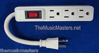 3 Outlet Mini Add-on Dj Band Ac Power Strip W/ Lighted On/off Switch 5 Inch Cord