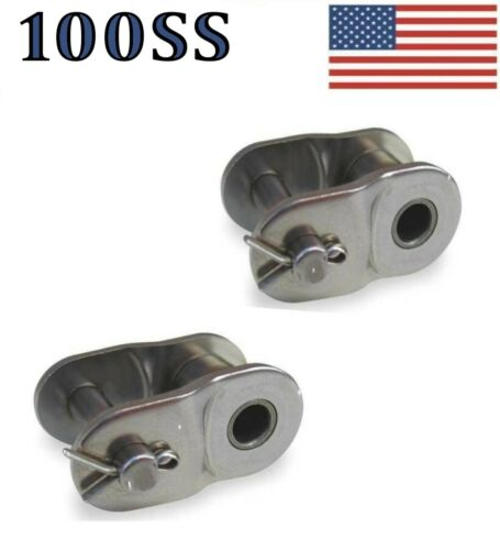 """#100 SS Stainless Steel Roller Chain Offset Link Pack of 2 1 1//4/"""" Pitch"""