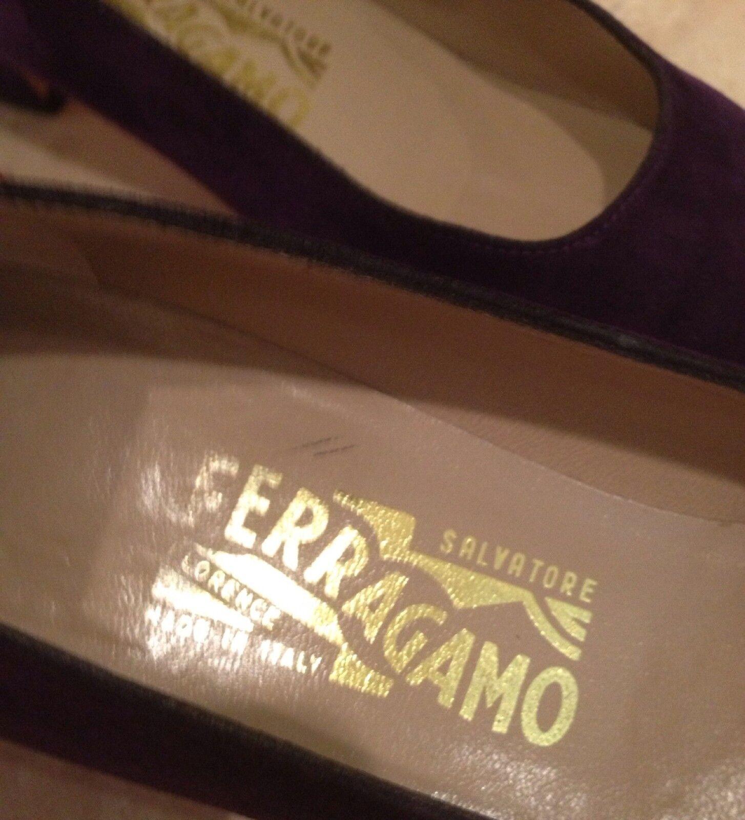 SALVATORE FERRAGAMO Rare PLUM PURPLE Suede Sz Classic Niedrig Heel Pump Sz Suede 8 4A f77d65
