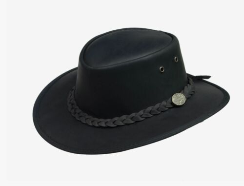 Full Grain Black Leather Bush Hat by Lesa Collection