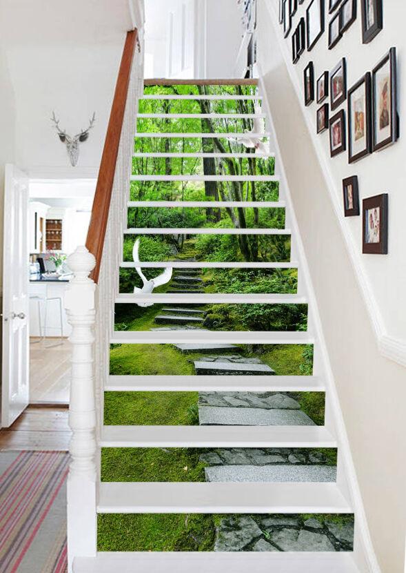 3D greene Gras Kran  Stair Risers Dekoration Fototapete Vinyl Aufkleber Tapete DE