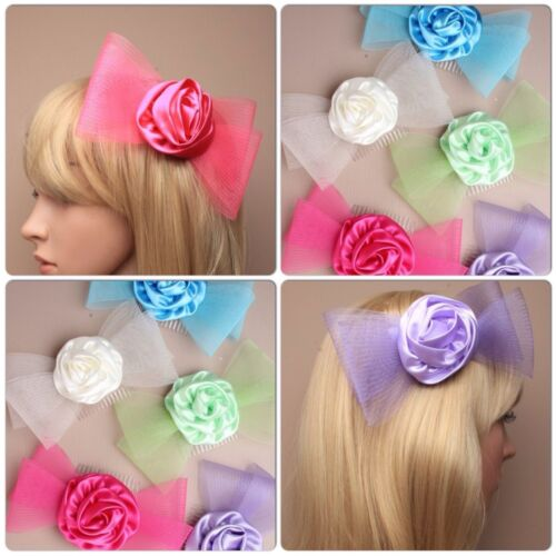 LADIES LARGE MESH BOW SATIN ROSETTE HAIR COMB FASCINATOR NET WEDDING FLOWERGIRL