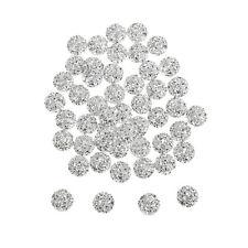 50x Flatback Resin Round Stone Beads Rhinestone For DIY Wedding Decor Silver