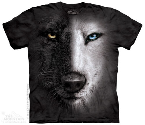 New BIG BLACK AND WHITE WOLF FACE T SHIRT