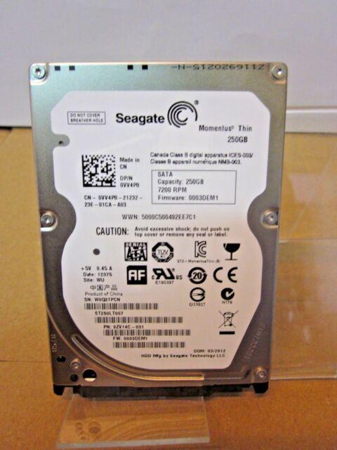 "DISCO DURO SEAGATE MOMENTUS THIN 250GB ST250LT007 SATA 2,5"" 7200rpm"
