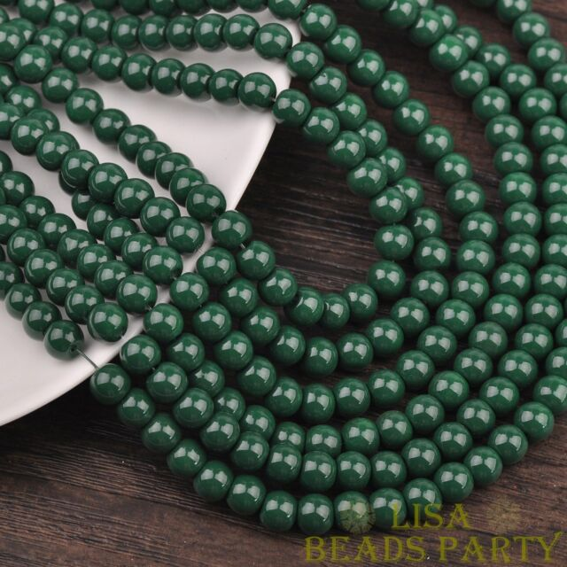 New 100pcs 4mm Round Glass Loose Spacer Beads Jewelry Findings Deep Green
