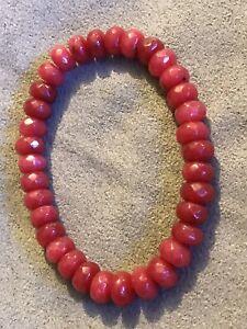 Handmade Jewelry Natural Ruby Stretch Bracelet Beaded Bracelets Natural Faceted Ruby Beads HandmadeBracelets Handmade Beaded Bracelets
