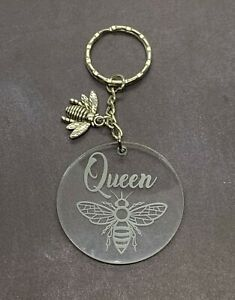 Queen-Bee-Engraved-Acrylic-Keyring-with-Bee-Charm-Stocking-Stuffer-Gift-Ideas