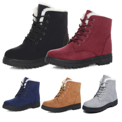 Women Ladies Flat Faux Lined Boots Ankle Lace Up Thicken Winter Warm Snow Shoes