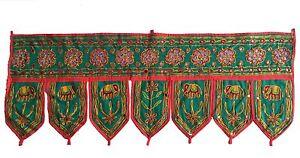 Green-Indian-embroidered-toran-door-valances-wall-hanging-Elephant-Home-Decor