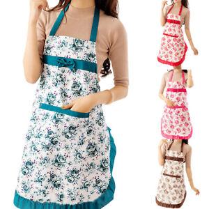 Women-Floral-Waterproof-Kitchen-Bib-Aprons-Chef-Cooking-Baking-Restaurant-Apron