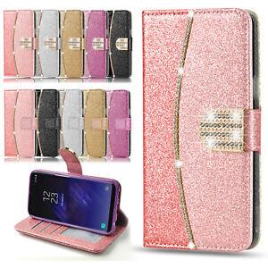 Bling-Glitter-tarjeta-Delgado-tipo-Billetera-Abatible-de-Cuero-Funda-cubierta-para-telefonos-Samsung