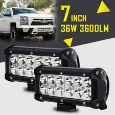 2x 7INCH 36W CREE LED WORK LIGHT BAR SPOT OFFROAD DRIVING LAMP 4WD ATV FLOOD 4""