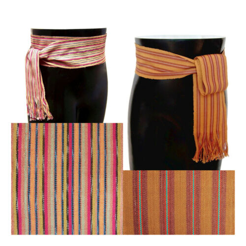 Striped Earth-Tone Fabric Sash Guatemalan Woven Belt CHOICES Pirate Sash Belt