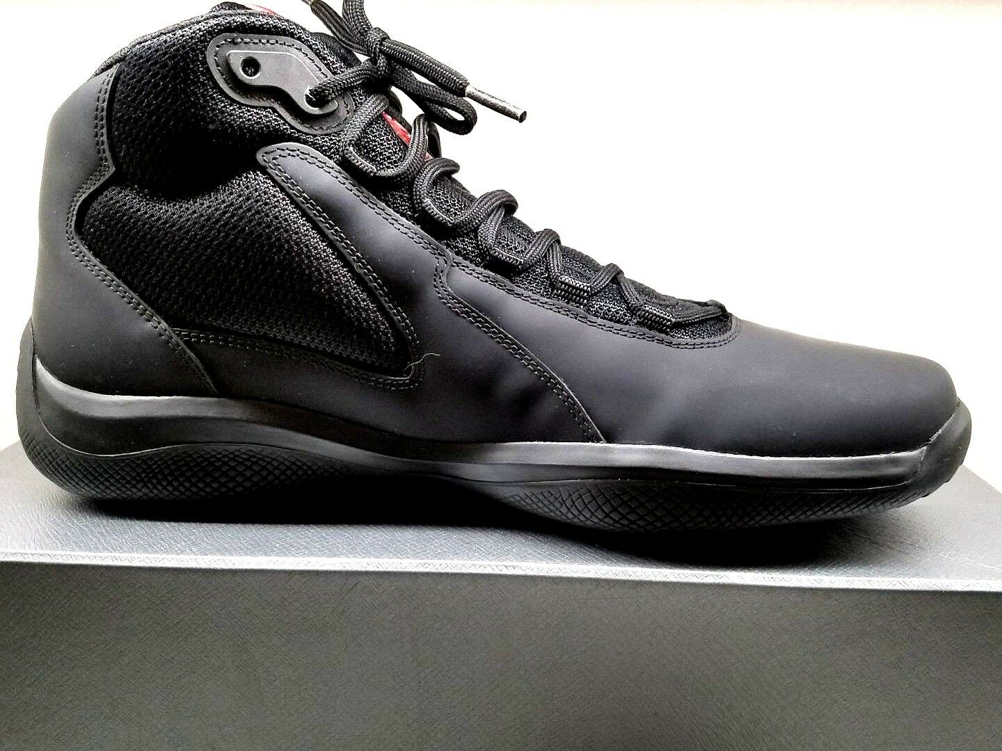 NEW Men's Prada nero Matte America's Cup Leather High Top scarpe da ginnastica  US 9