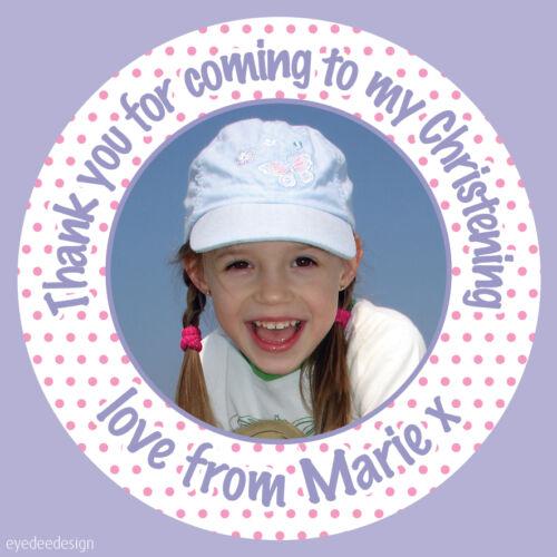 Personalizzata Bambina Battesimo Festa di Compleanno ringraziarvi Adesivi Etichette-n435