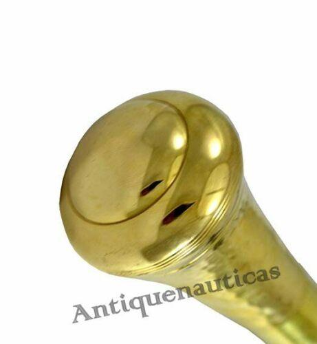 Brass KNOB Handle Nautical Brown Wooden Walking Stick Cane Golden Finish Gift