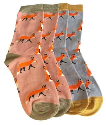 Fox Socks Womens 2 Pair Pack Pink Grey Ladies Bamboo Cotton Blend Orange Foxes