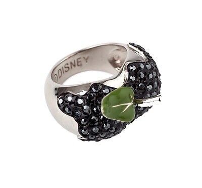 Disney Official Snow White Platinum-Plated Black Crystal Poison Apple Ring