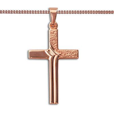 Echt Gold 333 Kinder Kommunion Zirkonia Kreuz gehämmert mit Silber Vg Kette