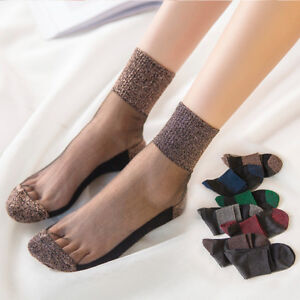 Women-Beautiful-Socks-Crystal-Transparent-Lace-Short-Ultrathin-Elastic-Summer