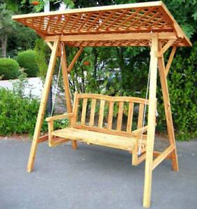 Extrem Holz Hollywoodschaukel Gartenschaukel Garten Schaukel Bank Dach KG67