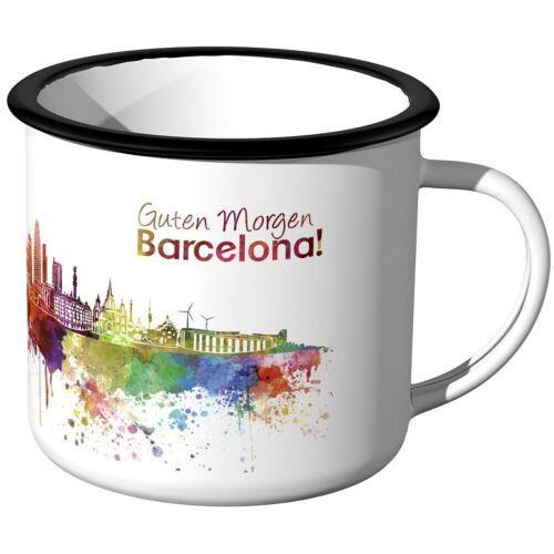 Skyline Aquarell Stadttasse Städtetasse Stadtbecher Guten Morgen Barcelona