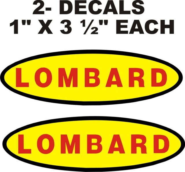 """-STICKERS 1/"""" X 3 1//2/"""" LOMBARD CHAIN SAW  2 VINYL DECALS"""
