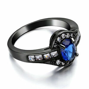 Oval-Blue-sapphire-Ring-Size-7-5-Womens-14K-Black-Gold-Filled-Wedding-CZ-Band