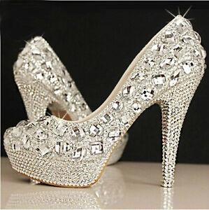 Bling Crystal Wedding shoes Bridal bridesmaids high heel pump wedge ...